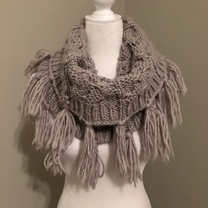 Gray Infinity Scarf with Fringe Detail